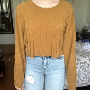 mustard yellow ribbed top from american eagle